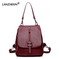 Lanzhixin 2017 High Quality Leather Backpacks For Teenage Girls Main Female School Shoulder Bags Women Vintage