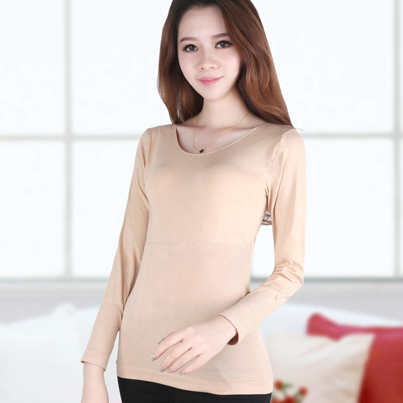 Abdomen Tunic Long Johns Sleeved Thermal Underwear Slimming Clothes Postpartum Low Warm T-shirt Lady Spring Winter Corset Women