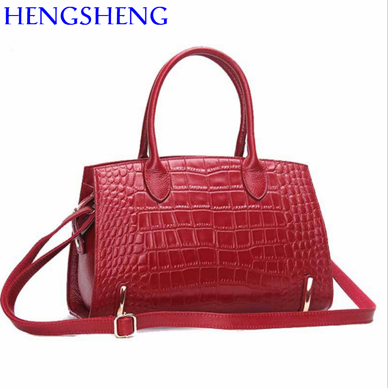 Hengsheng genuine leather women messenger bag for fashion lady shoulder bags red women bag by cow leather women handbags 2018 new fashion women handbags genuine leather bow patchwork cow leather bag lady shoulder crossbody messenger bags saddle