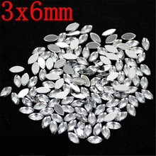 3x6MM 100Pcs Flat Back Marquise Earth Facet Crystal many Colors Acrylic Horse eye Shape Rhinestone Decorate DIY Nail Accessories