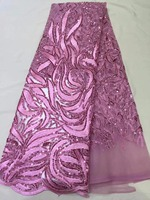 Pink African Lace Fabric With Sequins 5 Yards 2017 Latest Sequin Fabric High Quality Tulle Sequins