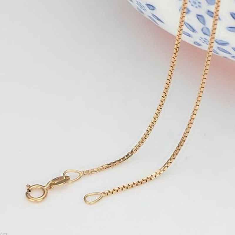 Tuyệt đẹp Chắc Chắn Au750 18K Trắng Hoa Hồng Vàng Dây Chuyền Nữ Hộp Liên Kết Vòng Cổ 16inch 18inch