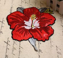 Elegant sequins, red flower shaped sequined embroidery applique patch apparel accessories, size 19.5cm*23cm parches para la ropa