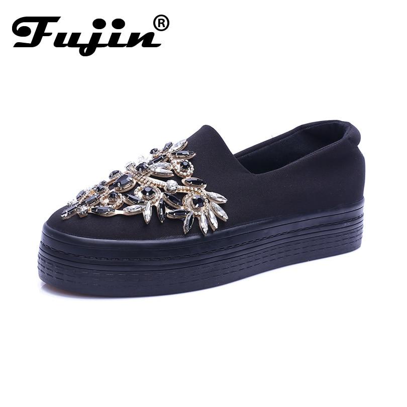 2019 حجر الراين المرأة منصة الأحذية تنفس حذاء أسود الكريستال الزاحف لسيدة slipony الانزلاق على الشقق الفاخرة الوحيدة سميكة