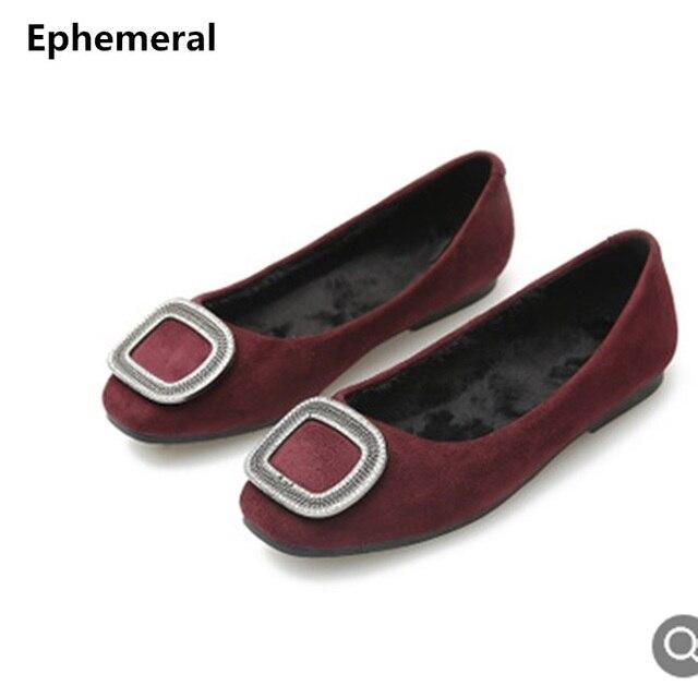 9e6c01132 Senhoras de Pele do Inverno Sapatos mocassin femme claussure Apartamentos  dedo do pé quadrado com Strass
