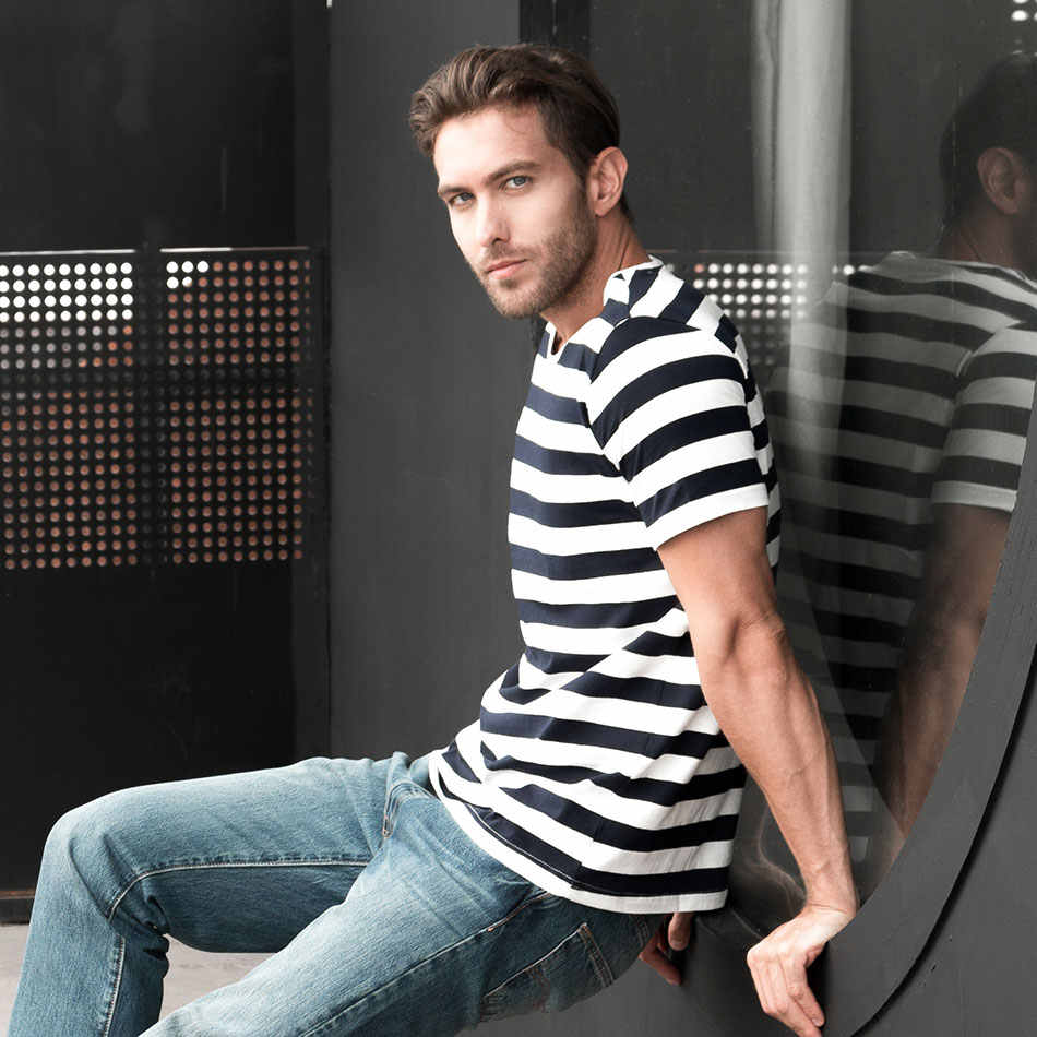 0f49b1bb82e ... Zecmos Navy Striped Sailor T-Shirt Men Summer Black And White Striped  Loose T Shirt ...