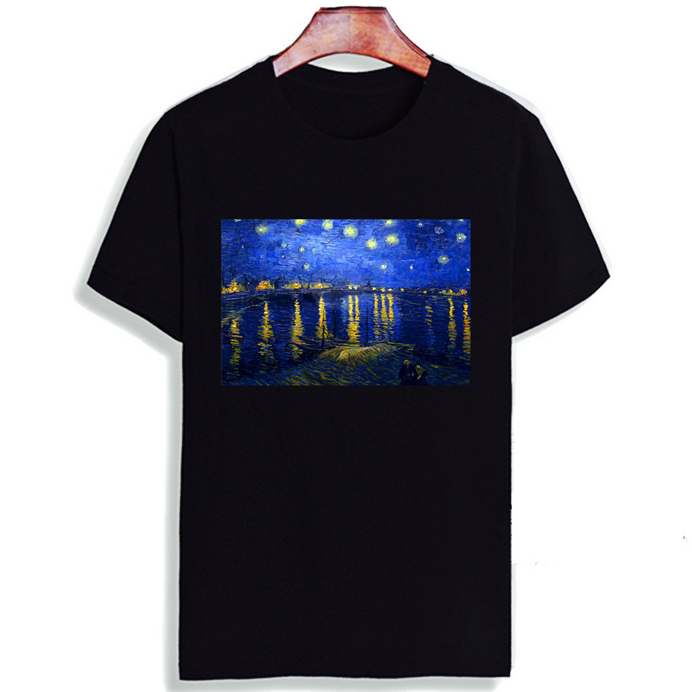 Fashion Short Sleeve T Shirt Van Gogh Starry Night Classic Art Printed 100% Cotton Top Tees Casual O Neck T-Shirt Unisex TShirt
