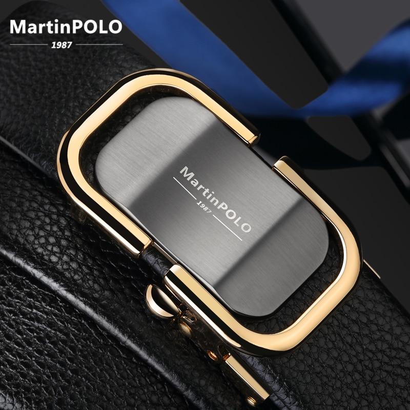 MartinPOLO New Arrival men's leather   belt   luxury Automatic Buckle   Belts   For Men Black men   belt   genuine leather MP0301P