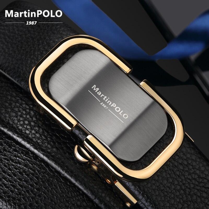 MartinPOLO nouveauté hommes ceinture en cuir de luxe automatique boucle ceintures pour hommes noir hommes ceinture en cuir véritable MP0301P