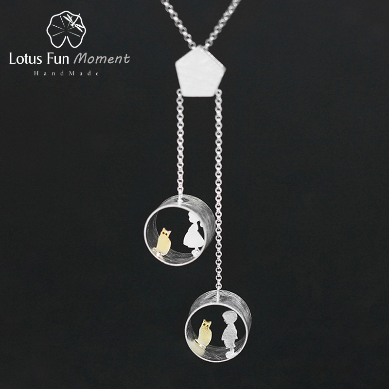 Lotus Fun Moment Real 925 Sterling Silver Creative Fashion Jewelry Cute Meeting Love With Cat Pendant without Necklace for Women [zob] supply of new original authentic omron omron buzzer m2bj bh24d