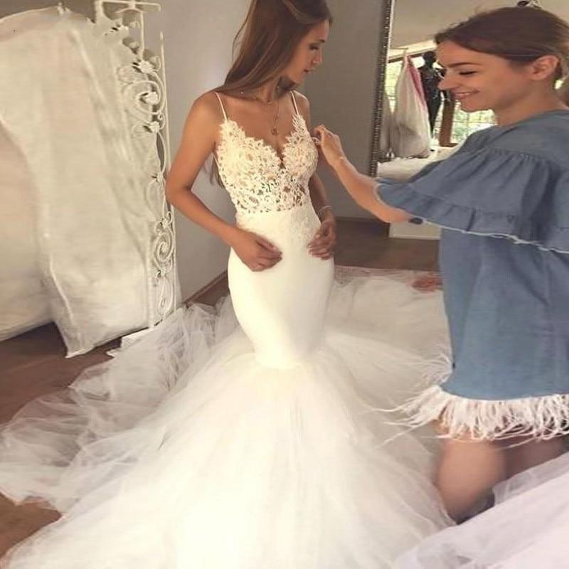 White Ivory Sexy V Neck Spaghetti straps mermaid wedding dresses 2019 Backless Vestidos De Noivas Custom