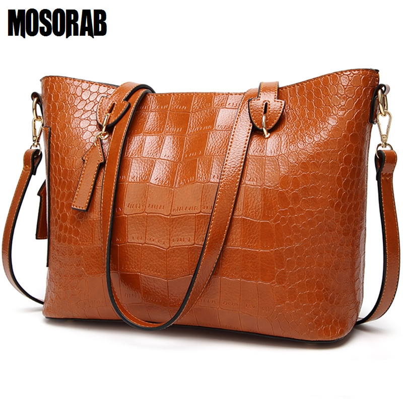 MOSORAB Women Handbag 2018 Alligator Patten Luxury Handbags Women Bags Designer Woman Messenger Bag Big Tote Sac Bolsos Mujer women bag oil wax women s leather handbags luxury lady hand bags with purse pocket women messenger bag big tote sac bolsos mujer