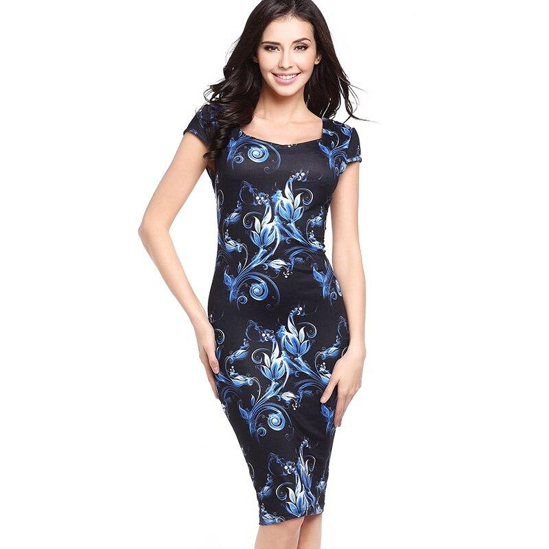 30c1051e17c6b Aikooki Summer Women Dress 2018 Sexy Elegant Business Casual Floral  Sleeveless Slim Work Dress Party Pencil Sheath Vestidos 2XL-in Dresses from  ...