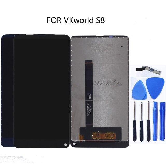 الأصلي ل VKworld S8 جديد شاشة الكريستال السائل محول الأرقام بشاشة تعمل بلمس ل VKworld S8 LCD الهاتف المحمول إصلاح أجزاء + أدوات مجانية