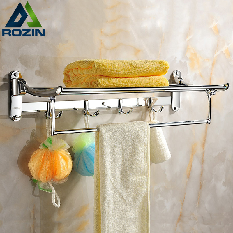 Wholesale And Retail Wall Mounted Folding Bath Towel Shelf Chrome Finish Towel Rack Towel Holder Towel Bar retail aluminium towel bar