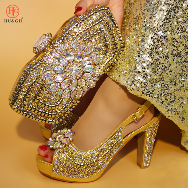 New Gold High Heel Nigerian Party Shoe and Bag Sets Decorated With Rhinestone Italian Wedding Shoes And Bag African Woman Shoes african desgin rhinestone high heel shoes and bag set for new summer style elegant shoes and bag sets free shipping mm10381