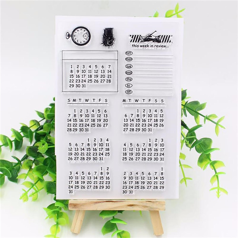 Calendar Week Month Transparent Clear Stamp sheets Seal for DIY Seal Craft Scrapbook/photo album Decorative stamps new arrival shiny r 542d t24 24 hour date time adjustable seal 41mm year month day seal stamp printer 48