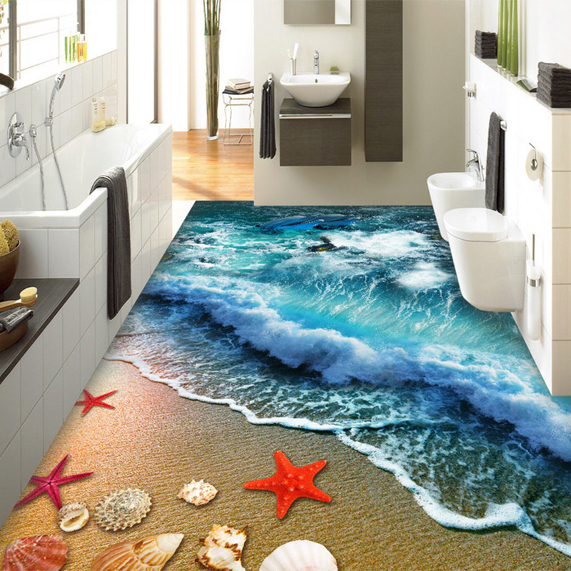 3d Floor Tiles Beach Sea Wave Photo Mural Wallpaper Living