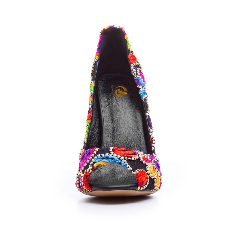 5 Plus Pompes Talons Haute Élégant Peep Initiale Toe Chaussures 10 Femme Taille Broder De Mince Femmes Ef0091 3 La Mode Magnifique L'intention xZCRvqqw