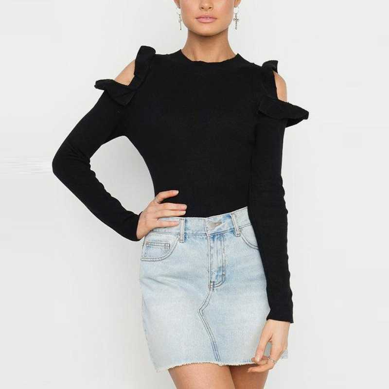 NEW Fashion Women Open Shoulder Long Sleeve Ruffle  Ladies Off Shoulder Knitted Sweaters