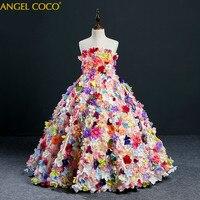Для девочек Костюмы Тюль Праздничное платье для девочек карнавальный детский костюм для девочек в цветочек платье принцессы Одежда для сва