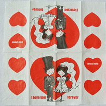 7e91846612f0 Vintage servilleta de papel tejido impreso rojo amor corazón novia novio  alguna vez pequeño pañuelo boda servilletas parte 2 paq.
