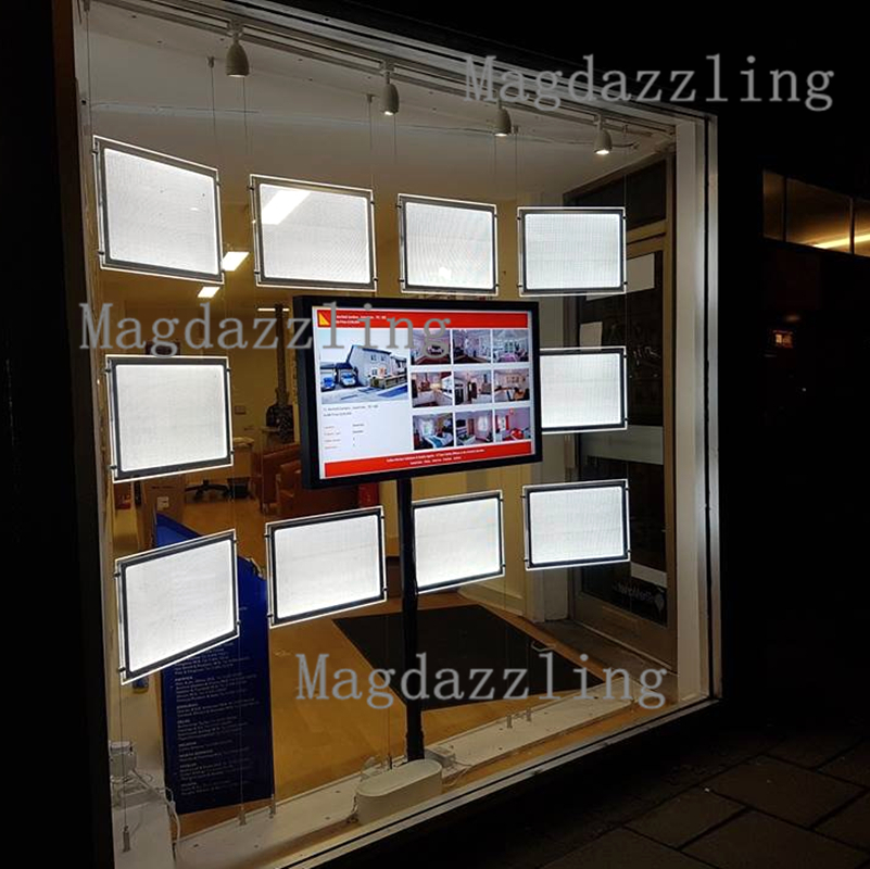 What Is Light Industrial Real Estate: A3 Hanging System Acrylic Poster Frame LED Window Display