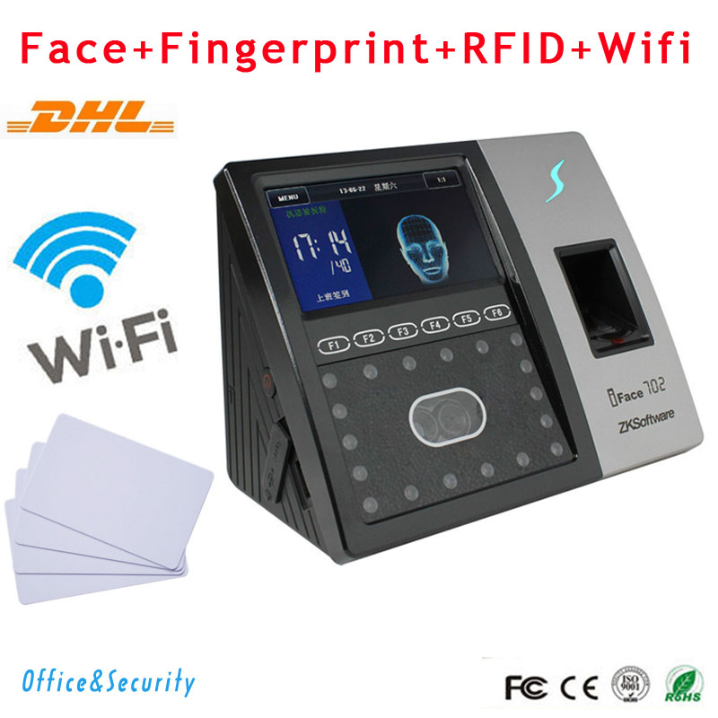 DHL Free Shipping Fingerprint+Face recognition+RFID card+Wifi supportable ZK Iface 702 Time Attendance time clock access control wifi biometric face time attendance and access control system iface302 wifi communication fingerprint wifi terminal