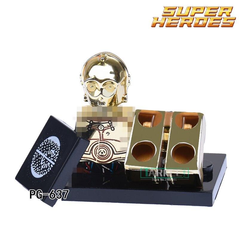 Star Wars C3PO Gold Diy Figures Limited Edition Chrom Golden Building Blocks Avengers Bricks Best Collection for Kids Gift 637