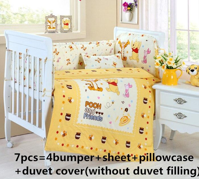 Promotion! 6/7PCS Cot Bedding Set Cot Crib Bedding Set Bumper for Girl and Boy Animal Baby Bedding sets ,120*60/120*70cm