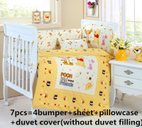 Promotion! 6/7PCS Cot Bedding Set Cot Crib Bedding Set Bumper for Girl and Boy Animal Baby Bedding sets ,120*60/120*70cm