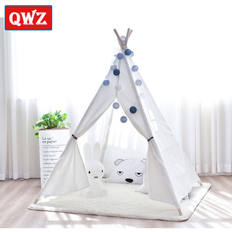 QWZ Blue Pink White Kids Toy Tent Cotton Indian Canvas Children Toy Baby Indoor Kids Toys Game Princess House polyester cotton cradle style baby s sling deep blue pink white
