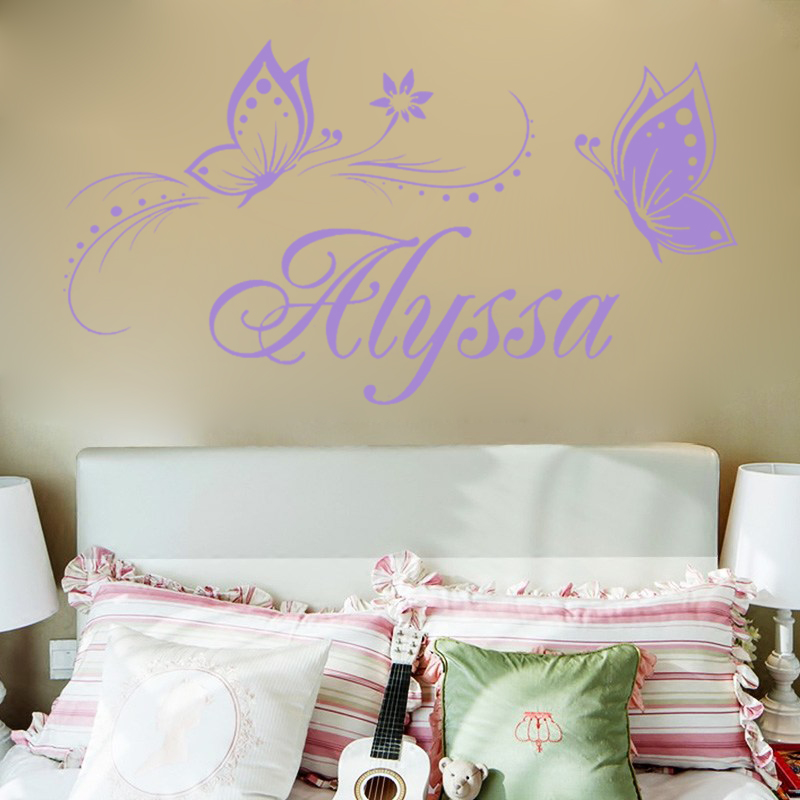personalized name butterfly wall stickers for kids green grass butterfly vinyl wall stickers for kids rooms