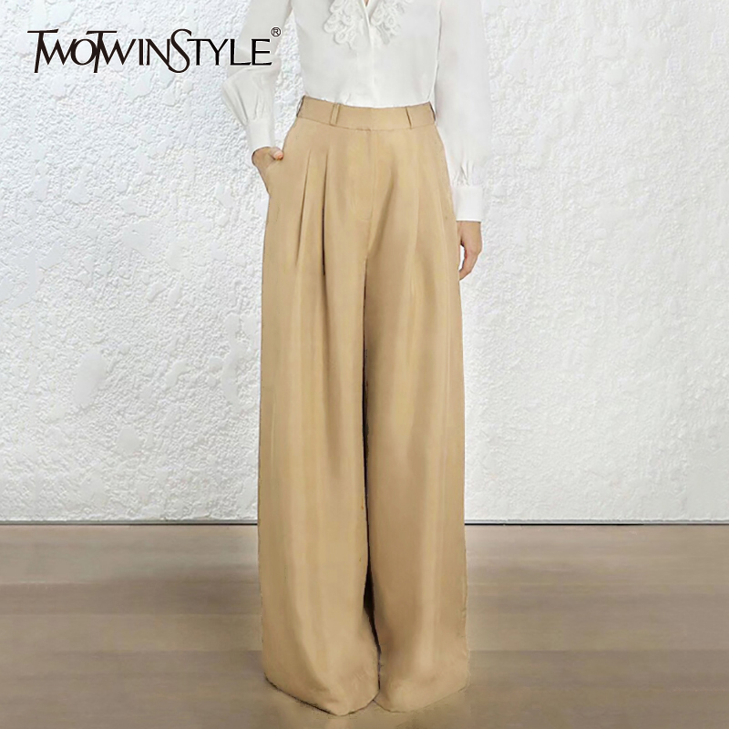 TWOTWINSTYLE Women's   Wide     Leg     Pants   High Waist Zipper Pocket Big Size Maxi Ruched Trousers Female 2018 Fashion Autumn OL Clothes