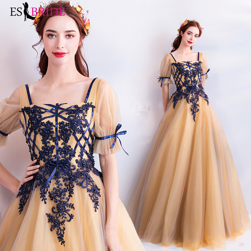 Gold Luxury 2019 New   Evening     Dresses   Blue Lace Appliques   Evening     Dress   elegant Special Occasion   dress   Robe De Soiree ES2259