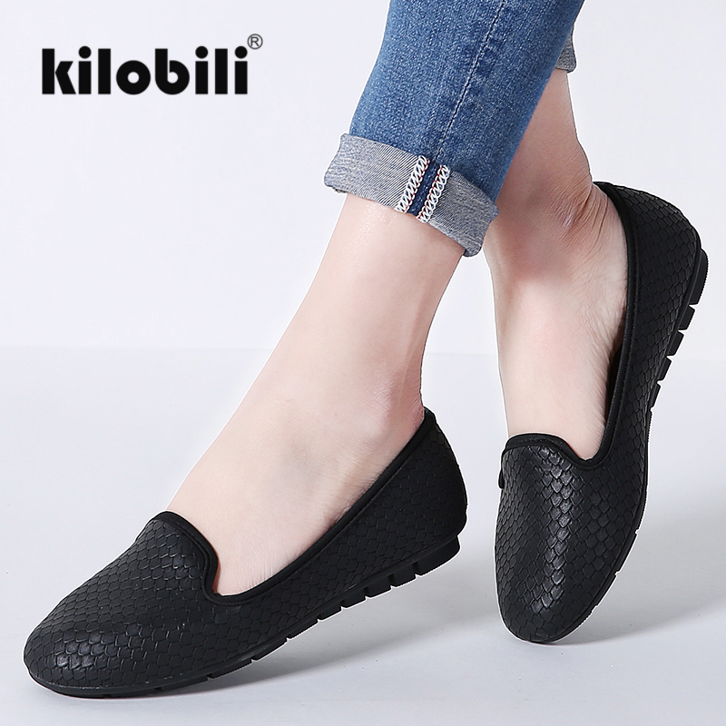 kilobili Women Ballet Flats Shoes PU Leather Slip on Women Moccains Casual Loafers Shallow Boat footwears