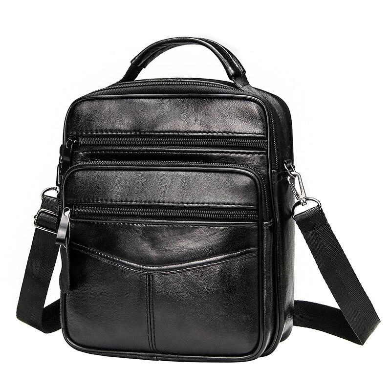 663.96руб. 50% СКИДКА|Мужская сумка через плечо из натуральной кожи, Повседневная Деловая кожаная мужская сумка мессенджер, винтажная Мужская большая сумка на молнии, сумки на плечо|  - AliExpress