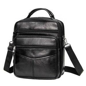 Image 1 - Genuine Leather Males Crossbody Bag Casual Business Leather Mens Messenger Bag Vintage Men Big Bag Zipper Shoulder Handbags