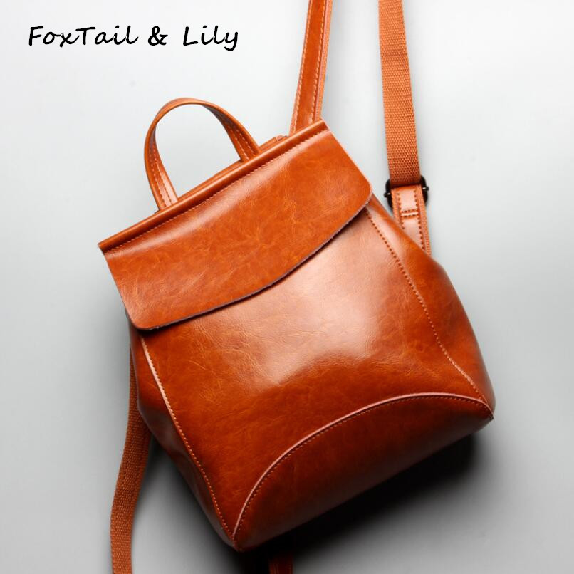 FoxTail & Lily Oil Wax Leather Backpack High Designer Women Travel Backpacks Large Capacity Ladies Simple School Back Bag GirlsFoxTail & Lily Oil Wax Leather Backpack High Designer Women Travel Backpacks Large Capacity Ladies Simple School Back Bag Girls