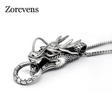 ZORCVENS Punk Jewelry Zodiac Dragon Pendant Necklace Stainless Steel Men's Thai silver color Boyfriend Gift