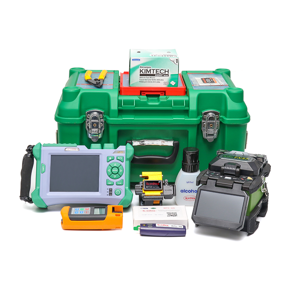 FTTx KOMSHINE SM QX50-S OTDR + FX37 Fusion Splicer w/ Fiber Cleaver, Visual Fault Locator + Optical Power Meter & Light SourceFTTx KOMSHINE SM QX50-S OTDR + FX37 Fusion Splicer w/ Fiber Cleaver, Visual Fault Locator + Optical Power Meter & Light Source