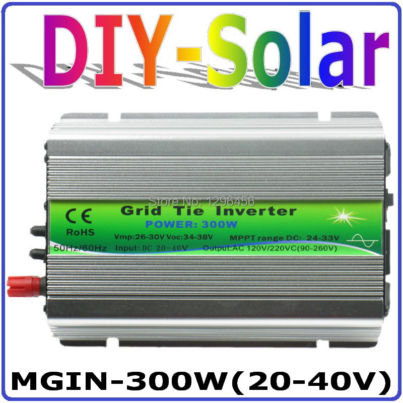 Фото 300W Grid Tie Inverter, 30V panel / 60cells, 20-40VDC Pure Sine Wave Micro Inverter, 90-260VAC Full Voltage Output MPPT Function