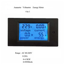 Free Shipping New 4 in 1 meter Voltage Current Power Energy meter Gauge AC 80-260V/20A voltmeter Ammeter Watt Power Meter