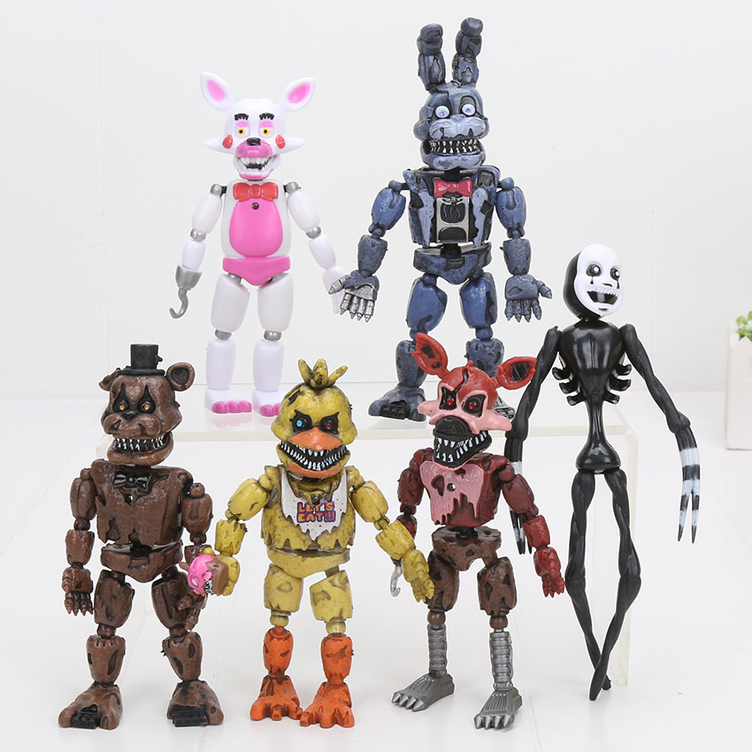 6Pcs/set LED Lightening Movable Joints FNAF Five Nights At Freddy's Action Figure Toys Foxy Freddy Chica Model Dolls Kid Toys