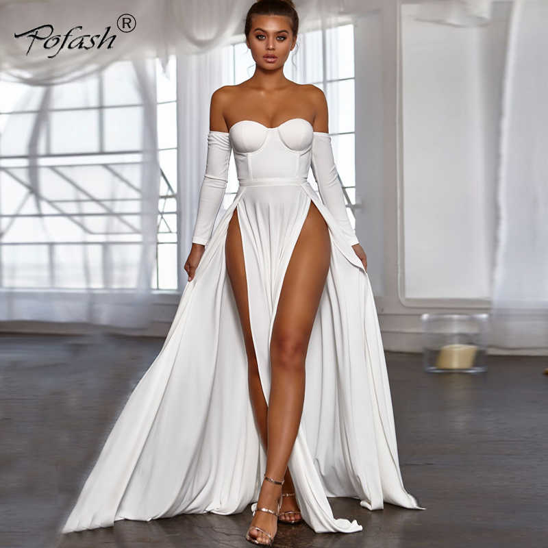 35186f94c8 Detail Feedback Questions about POFASH backless high split dress ...