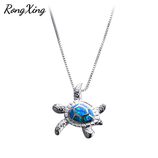 Rongxing charming blue fire opal sea turtle pendants necklaces for rongxing charming blue fire opal sea turtle pendants necklaces for women 925 sterling silver filled aloadofball Gallery