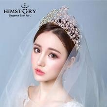 HIMSTORY Gorgeous Handmade Vintage Headbands Queen Crown and Tiaras Flower Floral Princess Wedding Hair Accessories