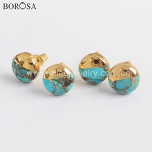 BOROSA 5Pairs Boho Turquoises Studs 10mm Gold Plated Square Round Triangle Natural Turquoises Earrings Handmade Lady Gifts G1723