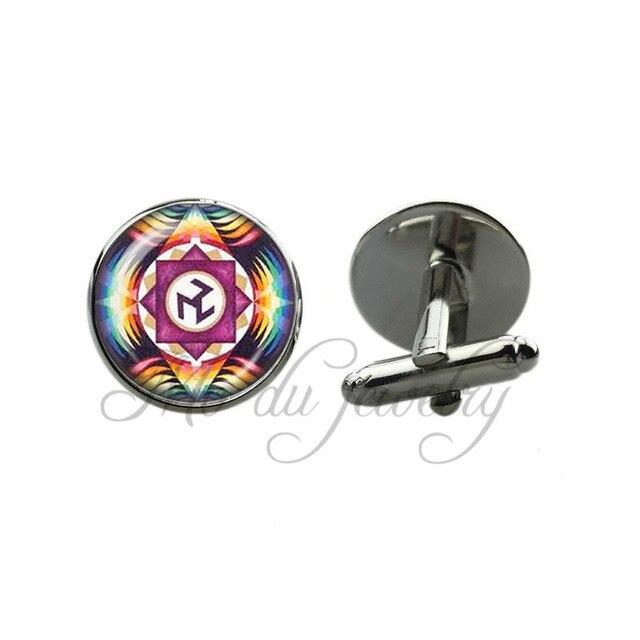 Handmade Cuff Link Chakra Cufflinks Black Gun Plated Cuff Button