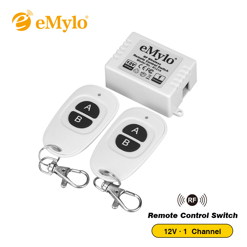 eMylo Universal DC 12V 1Ch 433Mhz RF Wireless Remote Control Relay Receiver Switch kit with 2 Transmitters Momentary Toggle Jog